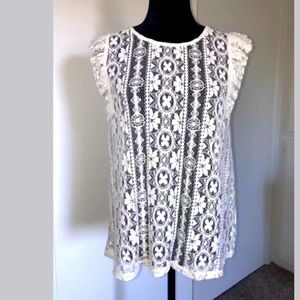 June And Hudson Ivory Lace Top Large